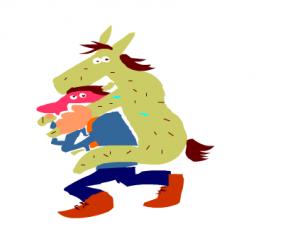 man met ezel op de rug